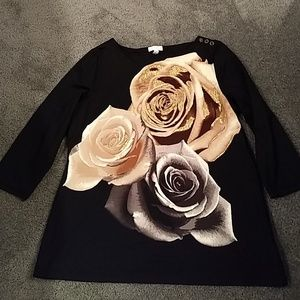 Metallic roses print blouse
